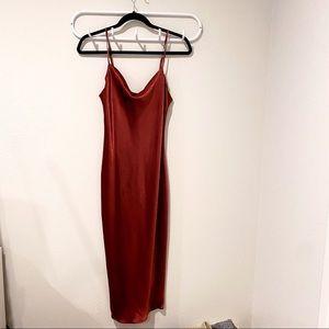 Satin Red Midi Dress